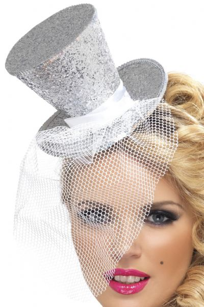 Burlesque Mini Top Hat On Headband Silver